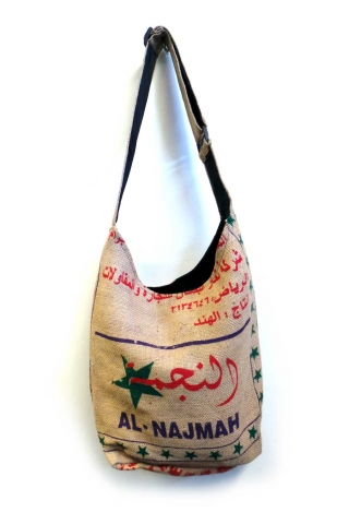 Recycled Rice Sack Shoulder Bag, upcycled jute bag - Al Najma (RSBRSB) by Altshop UK