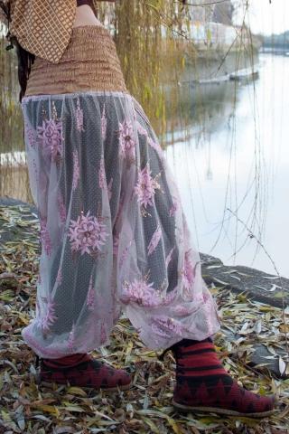 Sheer Beaded Seethrough Bellydance Harem Fairy Trousers in Pink Flowers - Poetry Ali Babas (SDALIS) by Altshop UK