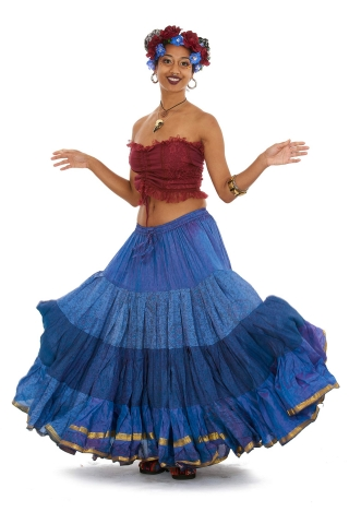25 Yard Gypsy Bellydance Skirt, tribal fusion dance skirt in Blue - Siddartha Skirt (SDBESK) by Altshop UK