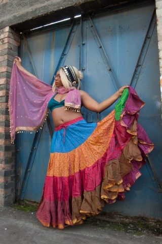 25 Yard Gypsy Bellydance Skirt, tribal fusion dance skirt in Multiverse - Siddartha Skirt (SDBESK) by Altshop UK