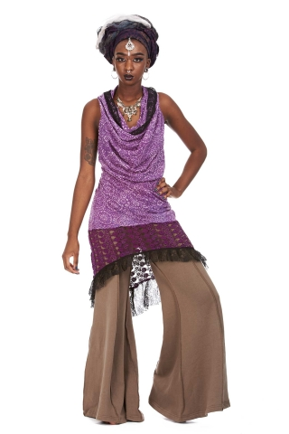 Hooded Cowl Dress, Cowl Neck Psy Trance Dress in Lilac - Suresh Dress (SGSURDR) by Altshop UK