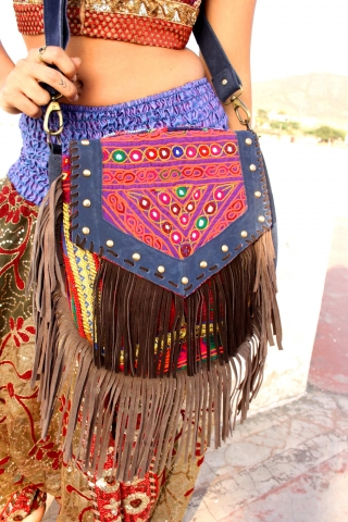 Leather Banjara Bag, Boho Embroidered Hippy Handbag - Tassel Bag B by Living Poetry