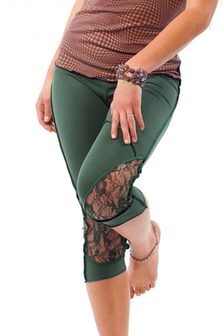 ORGANIC COTTON AND LACE PIXIE LEGGINGS - Fern