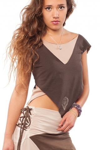 Organic Cotton Psy Hippy Vest Top - Brown & Cappucino