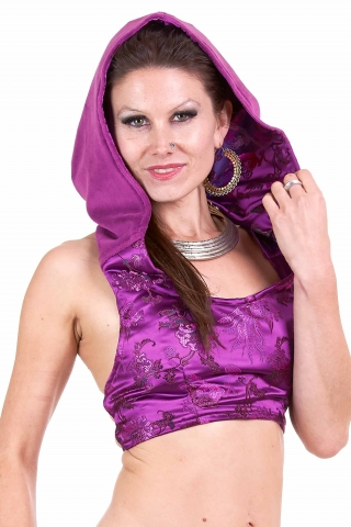 Velvet & Brocade Top, limited edition psy rave crop top in Bord of Paradise - Tibetan Choli (TRT609) by Altshop UK