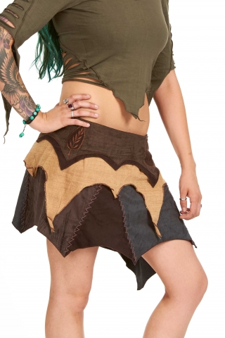 Psy Trance Pixie Vegetarian Leather Goa Skirt in Earthy - Super Trance Skirt (TT01) by Altshop UK