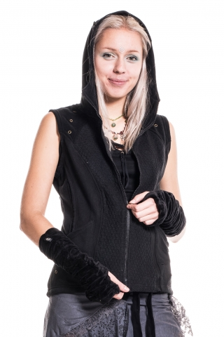 Pixie Hood Gilet, Unisex Festival Pixie Bodywarmer in Black - Half Moon Gilet (WASHALM) by Altshop UK