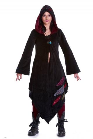 Pagan Goddess Cloak Coat, Velvet Woodland Faery Boho Jacket in Black - Leaf Goddess Coat (WCA1005) by Altshop UK