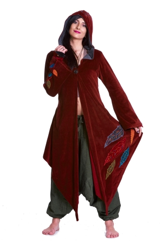 Pagan Goddess Cloak Coat, Velvet Woodland Faery Boho Jacket in Red - Leaf Goddess Coat (WCA1005) by Altshop UK