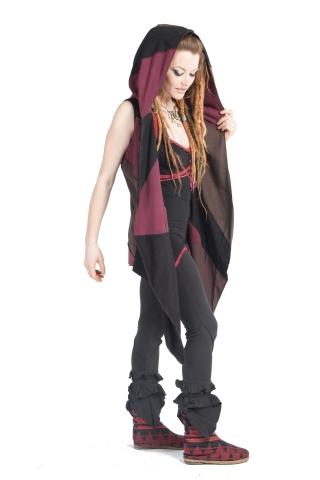 Hooded Pagan Pixie Fleece Open Drape Cardigan in Maroon - Fleece Vest (WCA1017) by Altshop UK