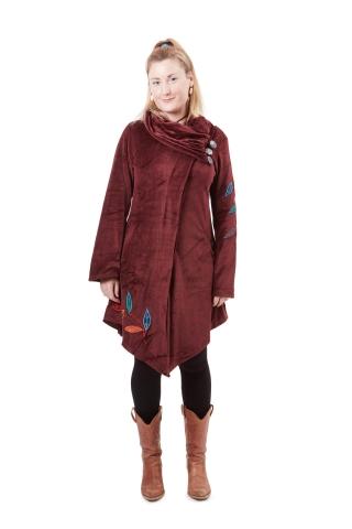 Elegant Velvet Boho Ladies Coat in Red - Regina Coat (WCT2012) by Altshop UK