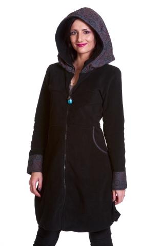 Large Hooded Fleece Coat, Bohemian Hooded Hippie Boho Coat in Black - Dots Jacket (WJK1283) by Altshop UK