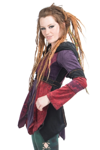 Velvet Patchwork Jacket, Ladies Hippy Pixie Jester Coat in Purples - Misty Jacket (WJK4242) by Altshop UK