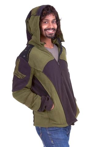Mens Pixie Hood Jacket, psy trance fleece - Green Star 1 Fly Jacket (WS 09) by Altshop UK)