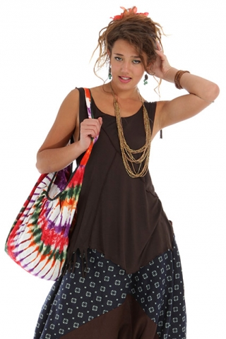 FLOATY OPEN BACK FAIRY RAVE TOP - Brown