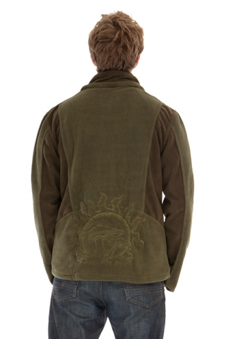 Mens Pointy Pixie Hood Cyber Psy Trance Jacket - Olive & Khaki / Mushrooms