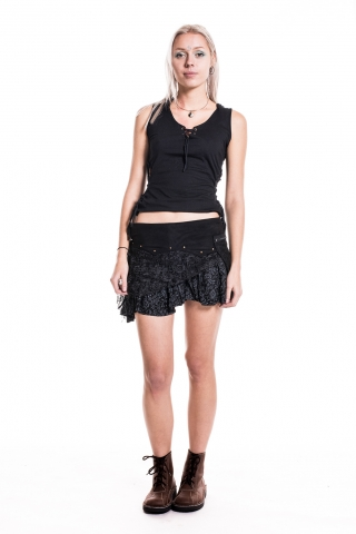 Festival Pixie Skirt, lace & cotton skirt with pocket - Black