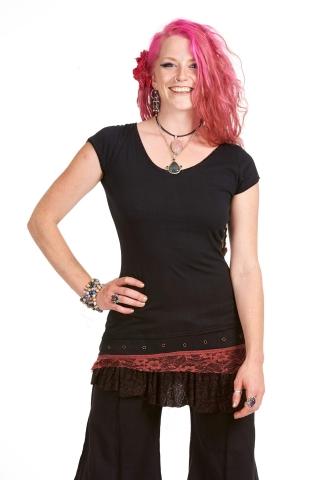 Festival Pixie Top, Goa psy trance top in Black & Dusty Pink - Daisy Top (WSOVDR) by Altshop UK