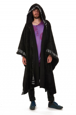 Mens Furry Pixie Wizard Hooded Poncho, Pagan Cloak in Black with Mono Trim - Wizerd Poncho (WSWIZP) by Altshop UK