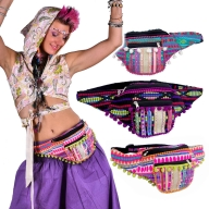 Pom Pom Fringed Bumbag, Colourful Rave Fanny Pack - Trim Bumbag (AGTRIM) by Lovely Jubbly
