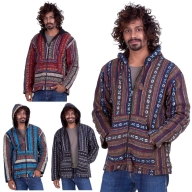 Mens Hippy Jacket, man's Nepalese baja hippie hoodie - Blanket Jacket (BHIMBJA) by Altshop UK