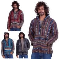 Mens Hippy Jacket, man's Nepalese baja hippie hoodie - Blanket Jacket (BHIMBJA) by Altshop UK