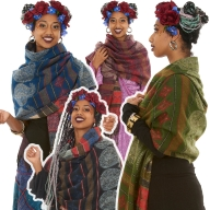 Oversized Wool Hippy Scarf, Large Warm Hippie Shawl Blanket - Paisley Shawl (BHIMSCF1) by Altshop UK