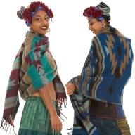 Large Wool Scarf, Boho Shawl, Hippy Wrap Blanket - Ikat Shawl (BHIMSCF2) by Altshop UK