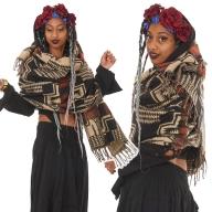 Oversized Aztec Boho Scarf, Hippie Blanket Wrap - Aztect Shawl (BHIMSCF3) by Altshop UK