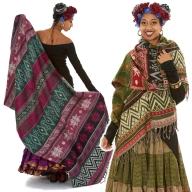 Ethnic Ikat Oversized Scarf, Cashmere Boho Shawl Wrap - Geo Shawl (BHIMSCF4) by Altshop UK
