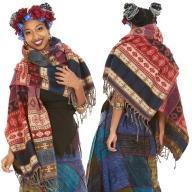 Oversized Tribal Boho Scarf, Hippie Blanket Wrap - Tribal Shawl (BHIMSCF6) by Altshop UK