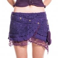 Crochet Psytrance Miniskirt, purple pouch skirt