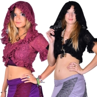 Lace Bolero, Gypsy Crop Top, Lace Hooded Top - Andalucia Top (DBANDA) by Altshop UK