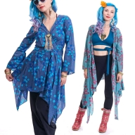 BOHO KIMONO JACKET, japanese festival hippy summer top - Japanese Wrap (DBANHC) by Altshop UK