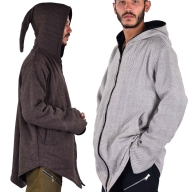 Natural Woollen Pagan Pixie Hood Jacket - Man Wool Jacket (DBMWOO) by Altshop UK