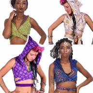 Reversible Hippy Crop Top with Pixie Hood - Opal Top (DBOPAL) by Altshop UK