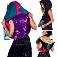 Sequin Disco Rave Hoodie, Burning Man Coachella Top - Quin Waistcoat (DBSECWA) by Lovely Jubbly