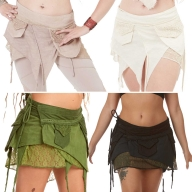 Psy Trance Mini Skirt, Boho Hippy Miniskirt - Lace Shivay Skirt (DCLACS) by Altshop UK