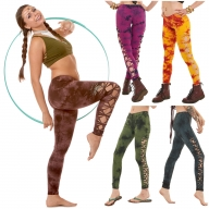 Tie Dye Leggings, Hippy Festival Braid Leggings - Flower Leggings (DEVFLHL) by Altshop UK