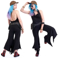 Black Festival Jumpsuit, backless cowl neck rave playsuit in Black - DEVJUMP by Altshop UK