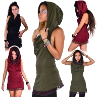 Hooded Backless Doof LBD Cowl Neck Mini Dress - Lace Cowl Dress (DEVLACD) by Altshop UK