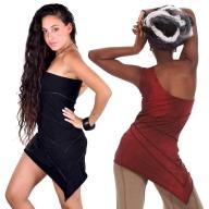 Little Bodycon Asymmetric One Shoulder Mini Dress - Interlock Dress Top (DEVOSHD) by Altshop UK