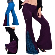 Extra Long Leg Steampunk Coachella Flared Trousers - Panel Flares (DEVPANFL) by Altshop UK
