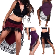 Gypsy Boho Skirt, High Low Psy Trance Goa Goddess Skirt - Sitar Skirt (DEVSHLSK) by Altshop UK