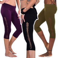 Cropped Psy Trance Weave Plait Yoga Festival Hippy Leggings - Short Plait Leggings (DEVSSPL) by Altshop UK