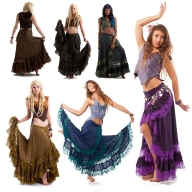 Long Gypsy Boho Skirt, Hippy Lace Wraparound Skirt - New Flamenco Skirt 2 (DMFLAM) by Altshop UK