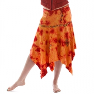 Hippy Orange Fire Dance Pixie Skirt