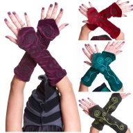 Velvet Pixie Arm Warmers, Psy Trance Festival Gauntlets - Swirl Gauntlets (F39-7) by Altshop UK