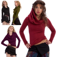 Elegant Long-Sleeved Boho Draped Cowl Neck Hoodie