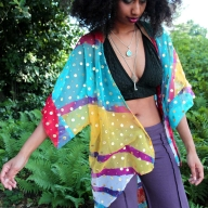 Colourful floaty festival beach kimono in Gold Spot - Poetry Kimono (LMKIMO) by Living Poetry
